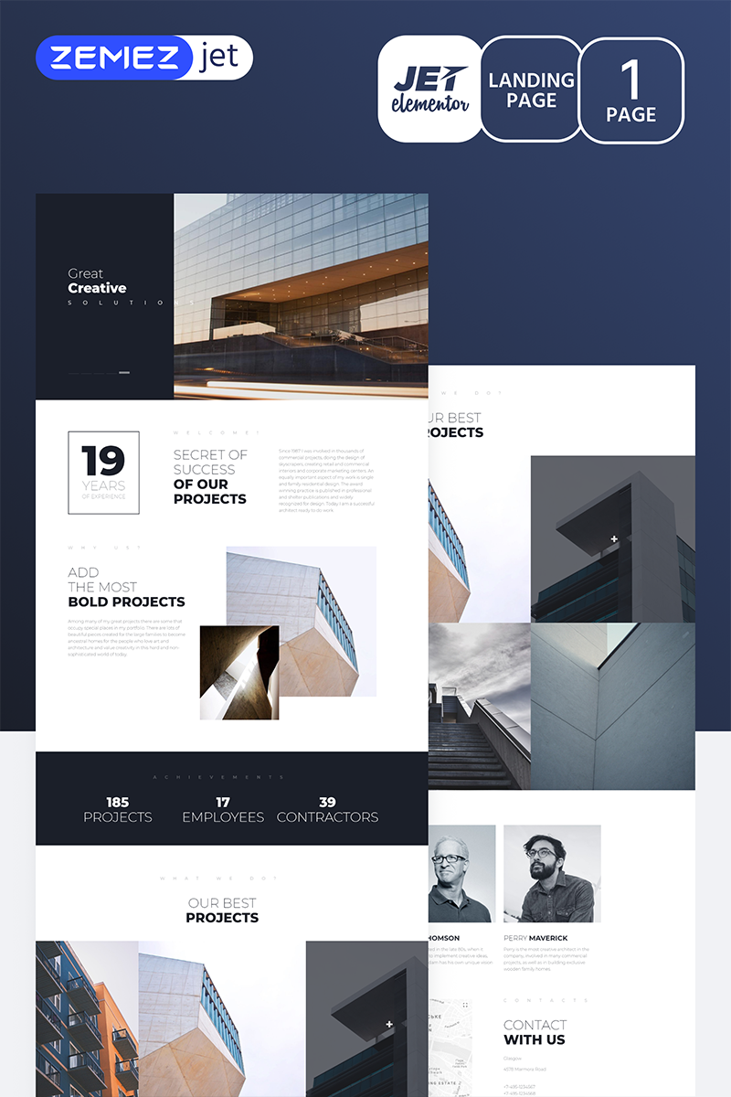 """Towercon - Architecture Jet"" Elementor Template №70162"