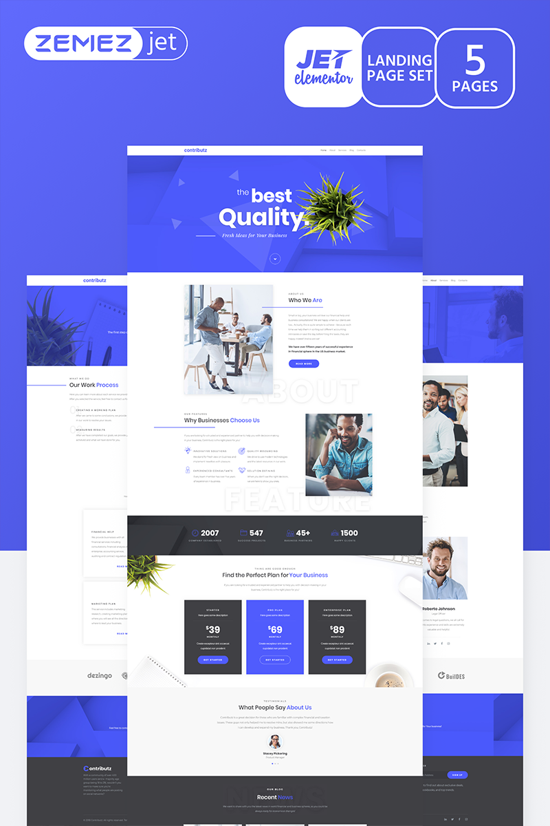 """Wizarro - Business Consulting Jet"" Elementor Template №70181"