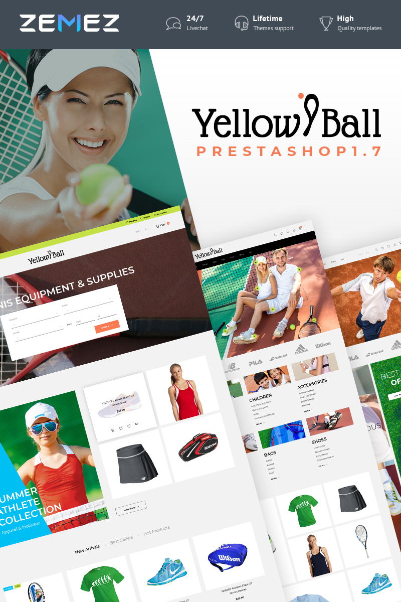 YellowBall - Tennis Store PrestaShop Theme - screenshot