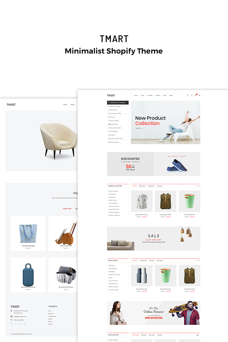 Website Template 70254 Minimalist Furniture Clothing Custom Website