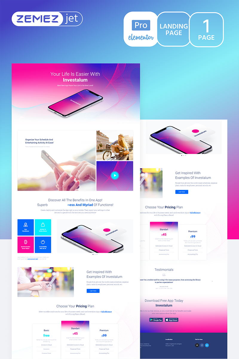 """Appstick - Application Pro"" Elementor Template №70211"
