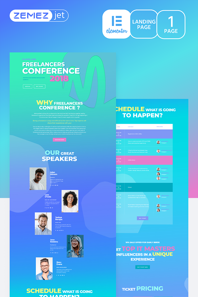 """Compasto - IT Conference"" Elementor Template №70203"