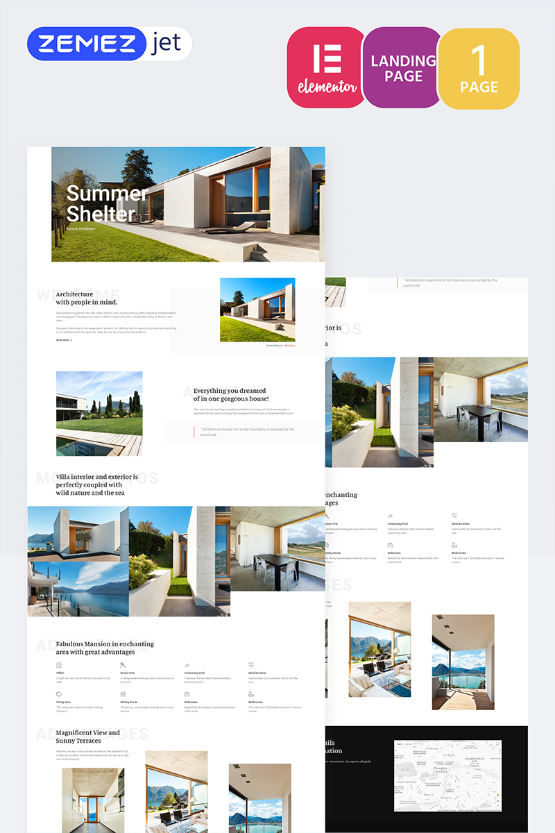 """Cottager - Luxury Real Estate"" Elementor Template №70204"