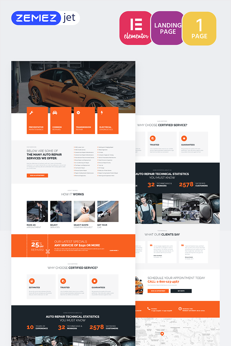 """Engirem - Car Repair"" Elementor Template №70269"