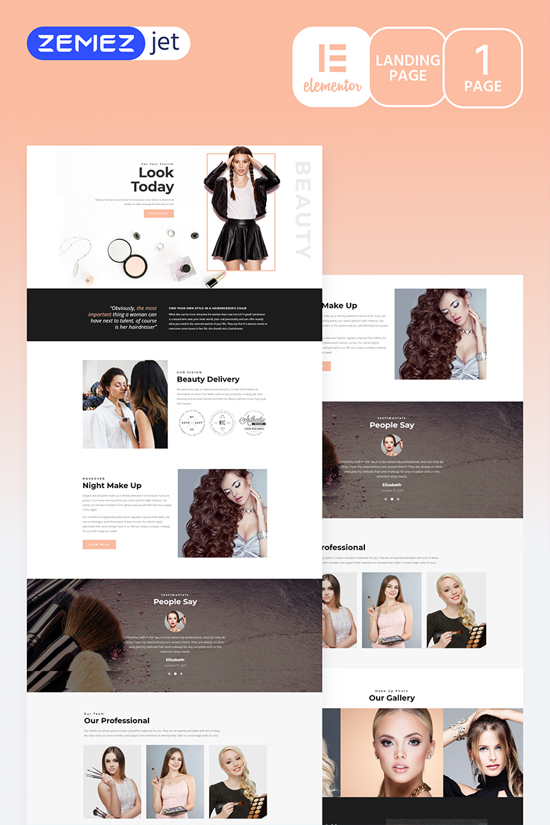 """Gracia - Beauty Salon"" Elementor Template №70270"