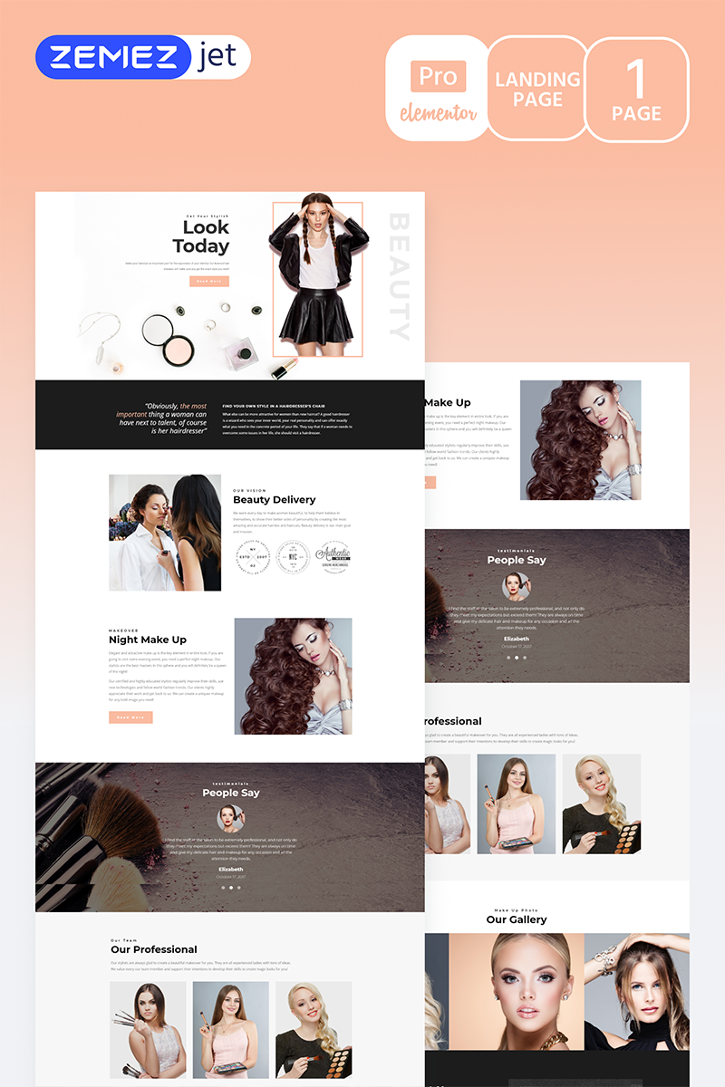 """Gracia - Beauty Salon Pro"" Elementor Template №70277"
