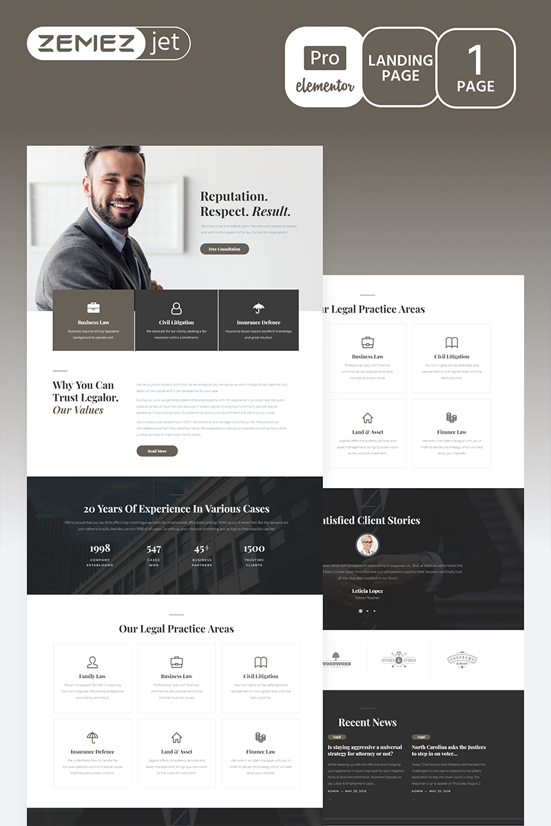 """Juristos - Lawyer Pro"" Elementor Template №70214"