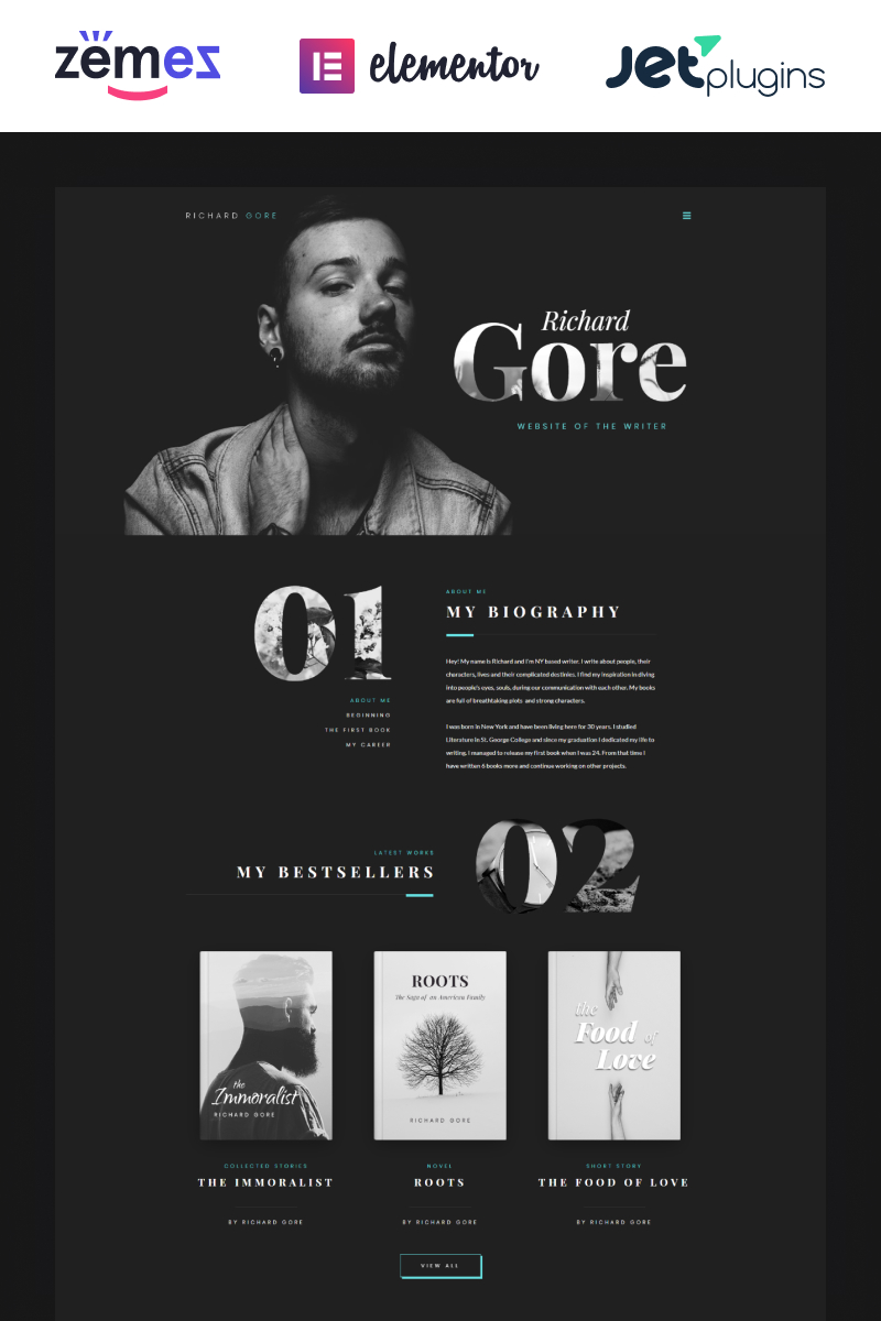 "Modello WordPress Responsive #70286 ""Richard Gore - Stylish Writer Portfolio Template with Elementor Builder"""