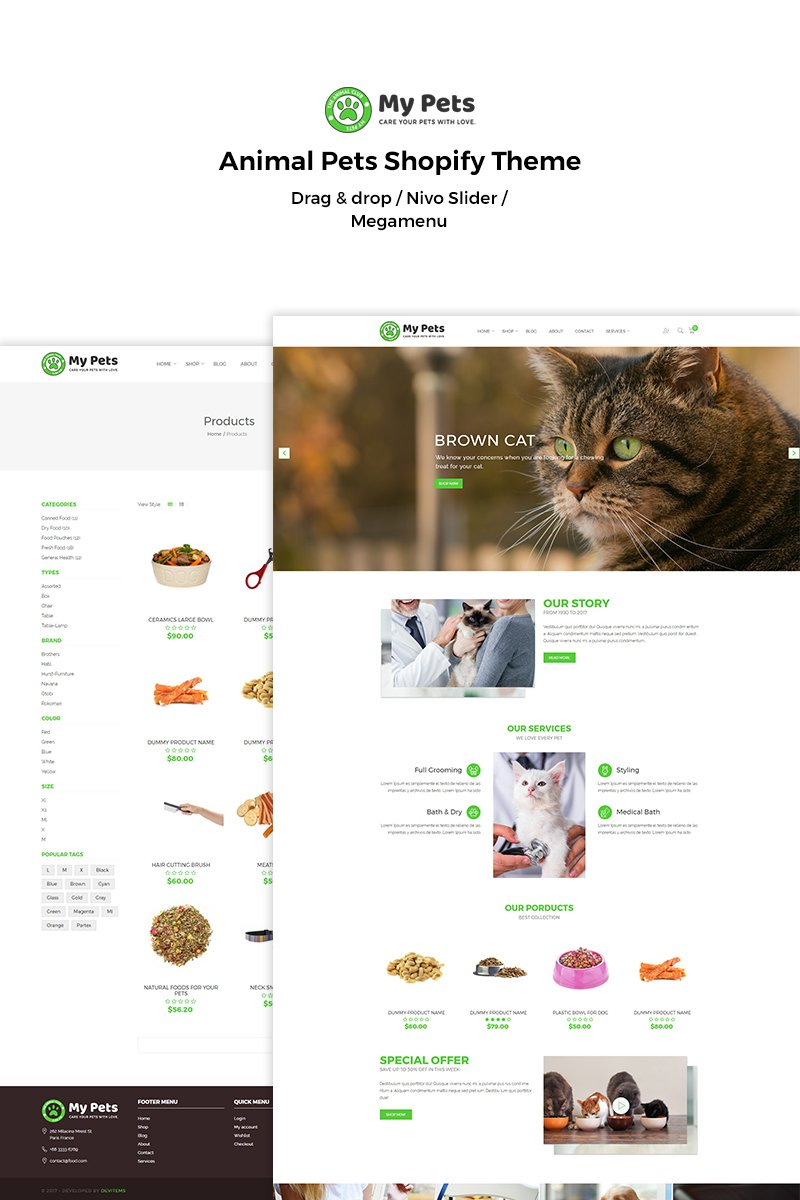 """My Pets - Animal Pets"" thème Shopify adaptatif #70283"