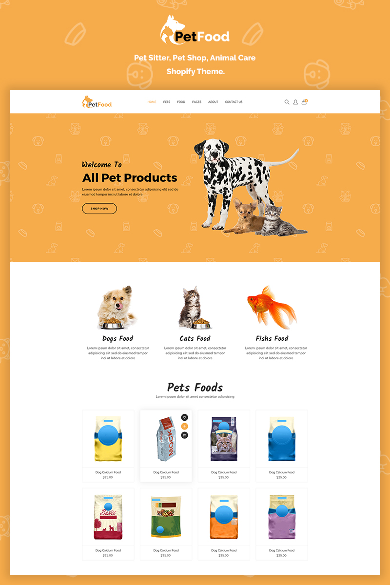"""PetFood - Pet Sitter, Shop, Animal Care"" - адаптивний Shopify шаблон №70201"