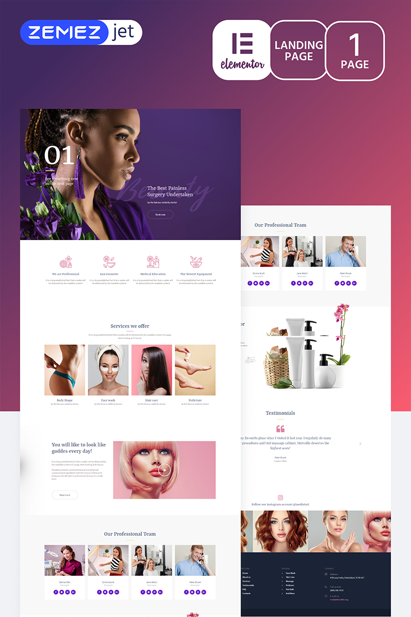 """Purplex - Spa Salon"" Elementor Template №70205"