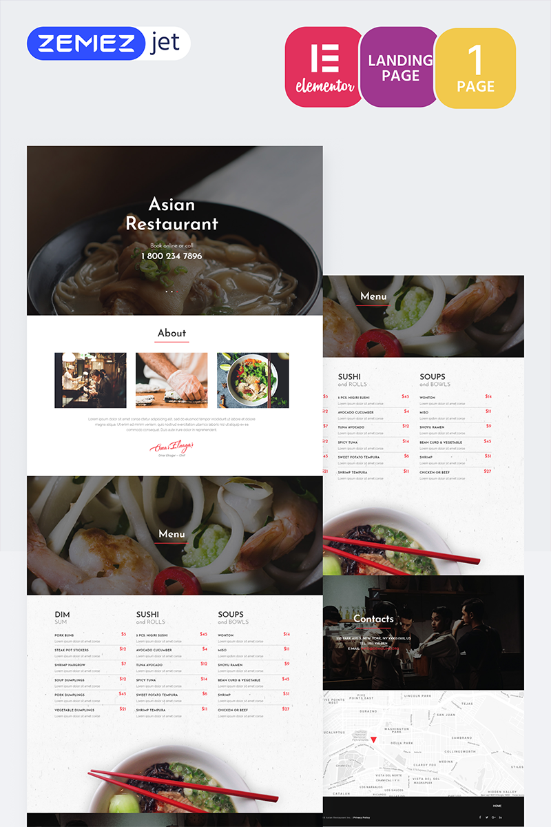 """RedDragon - Asian Restaurant"" Elementor Template №70209"