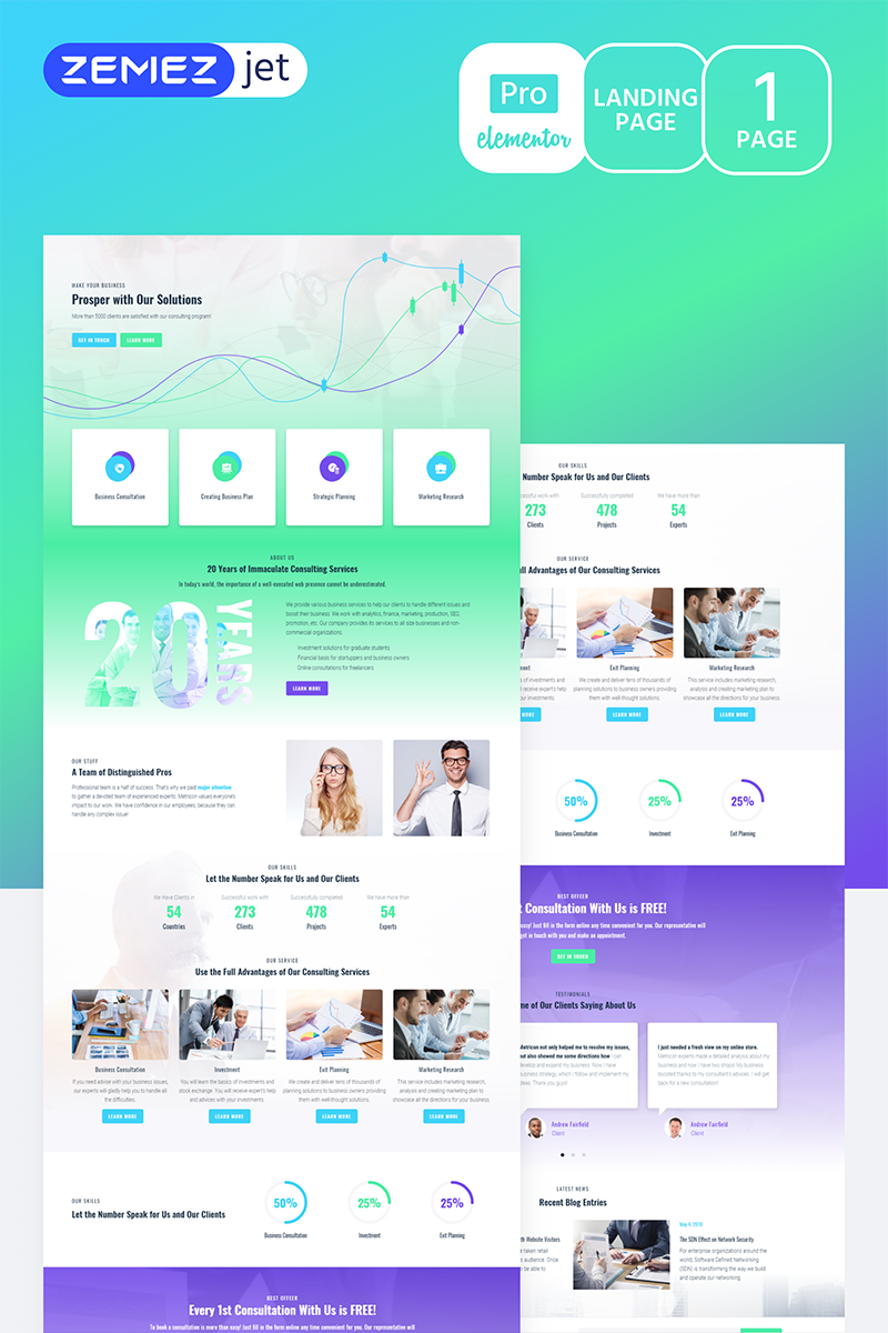 """Solutt - Corporate Business Pro"" Elementor Template №70216"