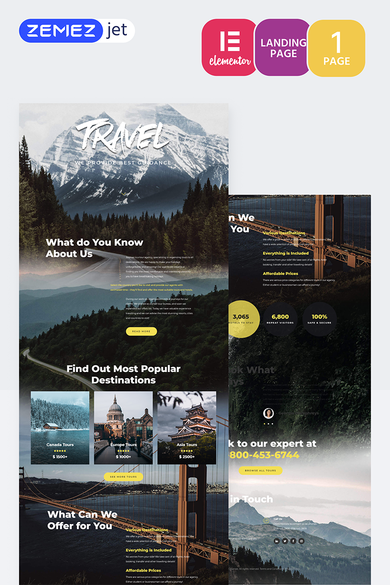 """Tournet - Travel Agency"" Elementor Template №70206"