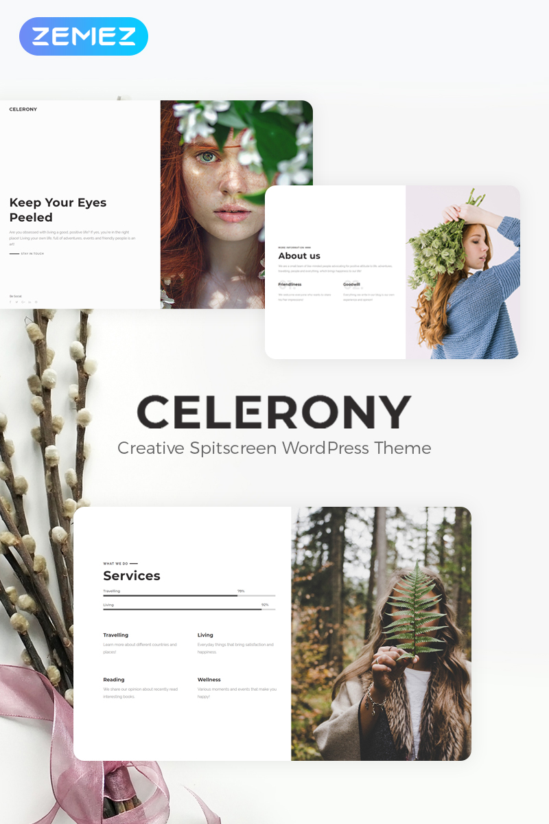"WordPress Theme namens ""Celerony - Creative Splitscreen Elementor"" #70224 - Screenshot"