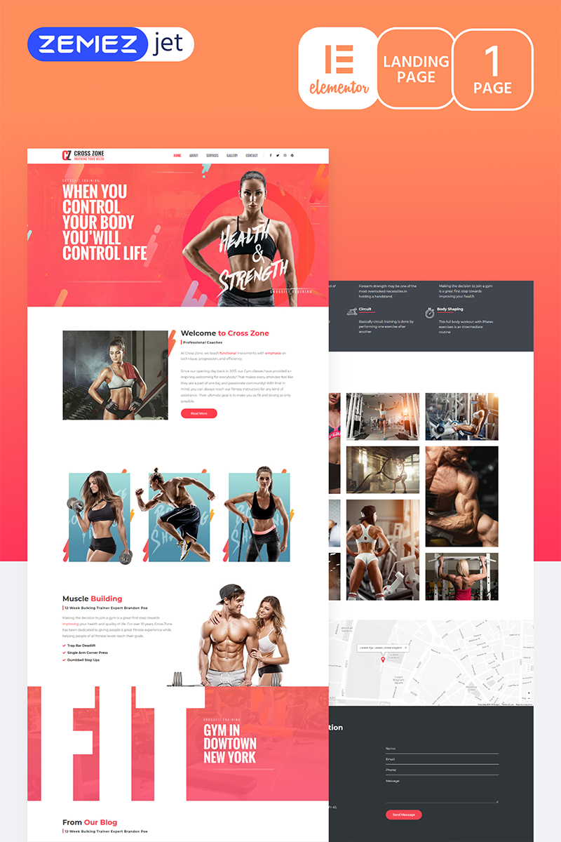 """YourWOD - Crossfit"" Elementor Template №70208"