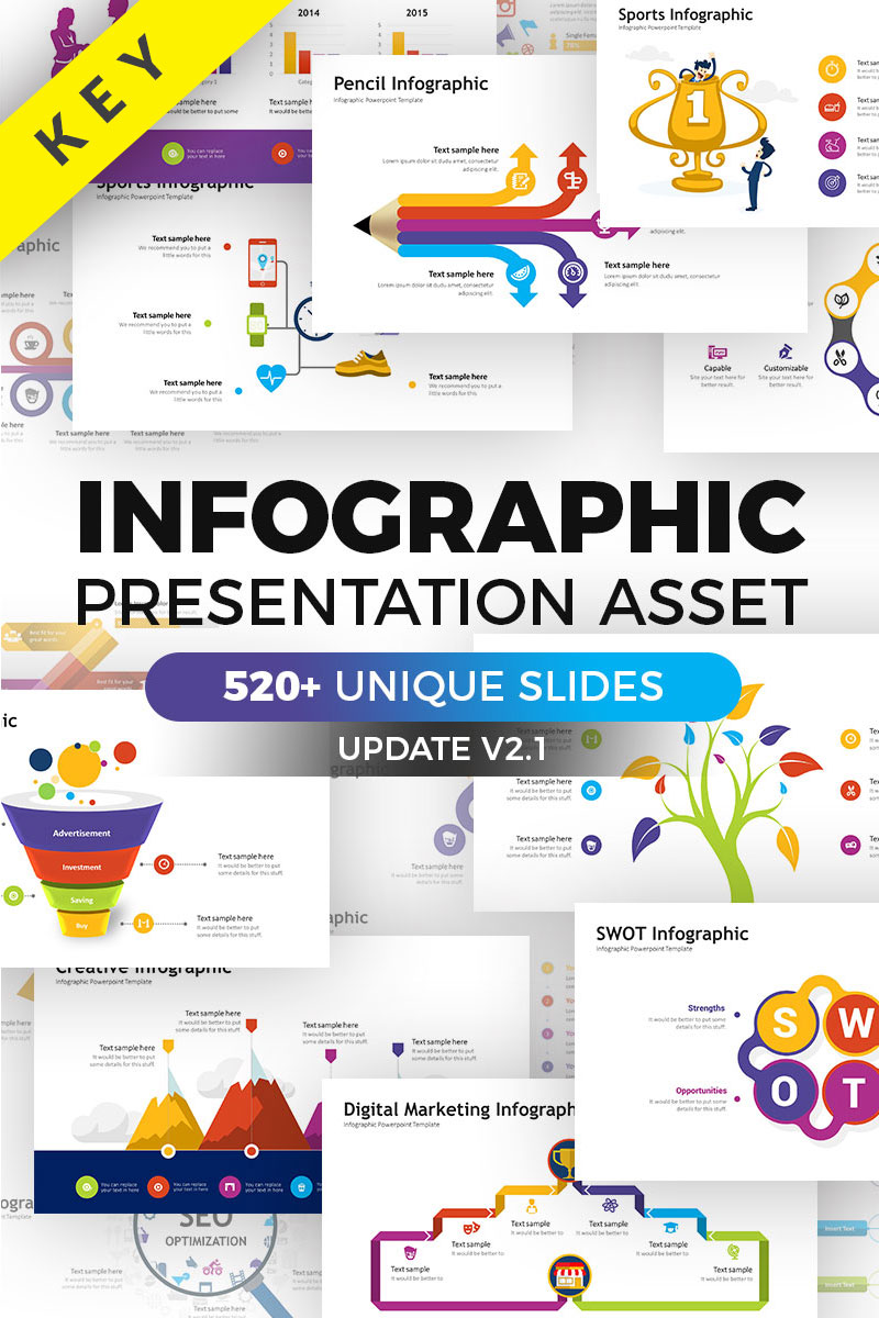 """Business Infographic Pack - Keynote Asset"" - Keynote шаблон №70390"