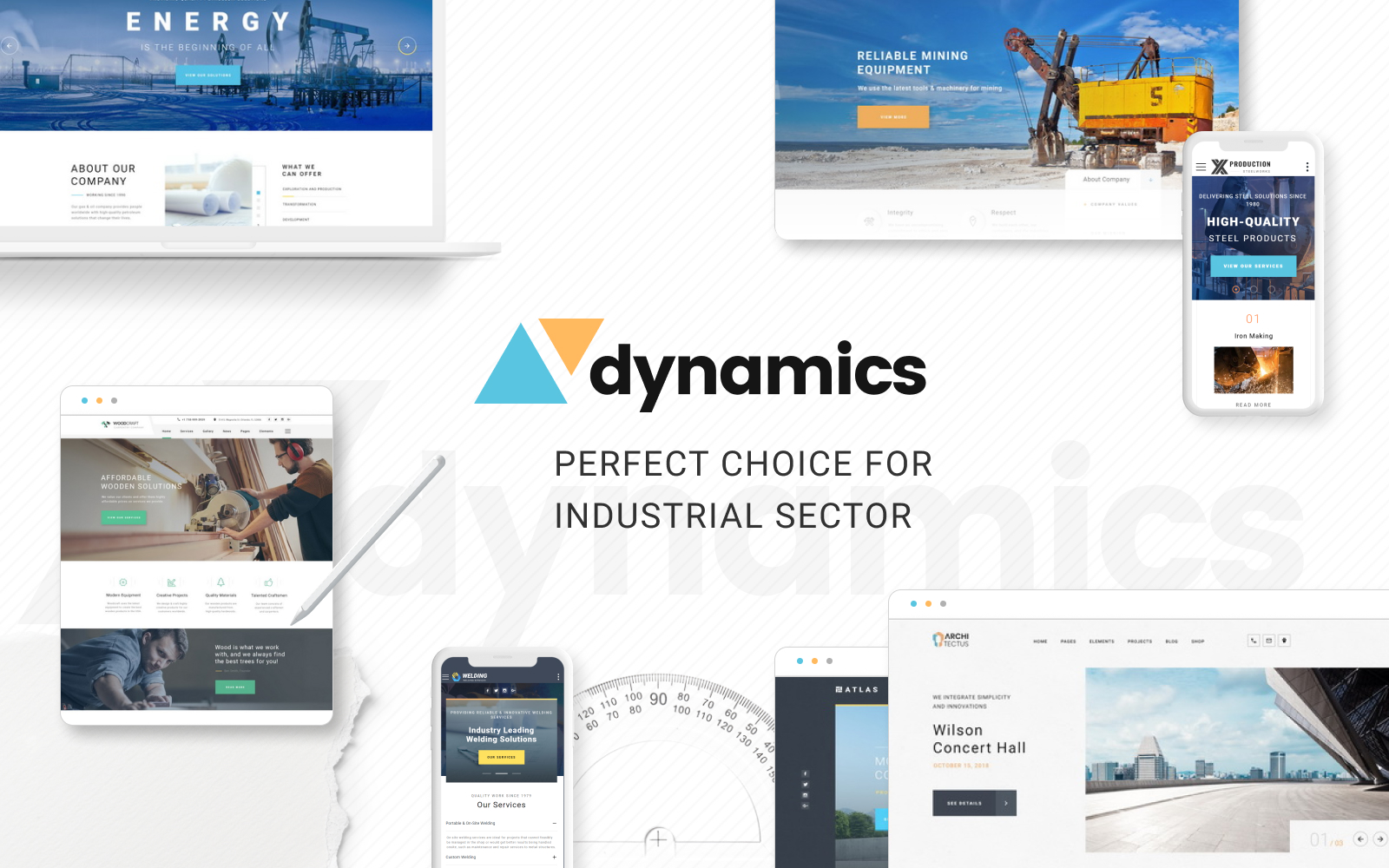 """""""Dynamics - Industrial Multipage HTML5"""" 响应式网页模板 #70384"""