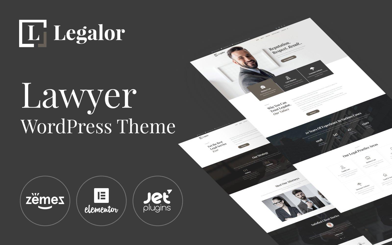 """Legalor - Lawyer Elementor"" Responsive WordPress thema №70389"