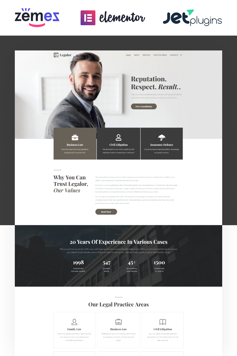 """Legalor - Lawyer Elementor"" Responsive WordPress thema №70389"