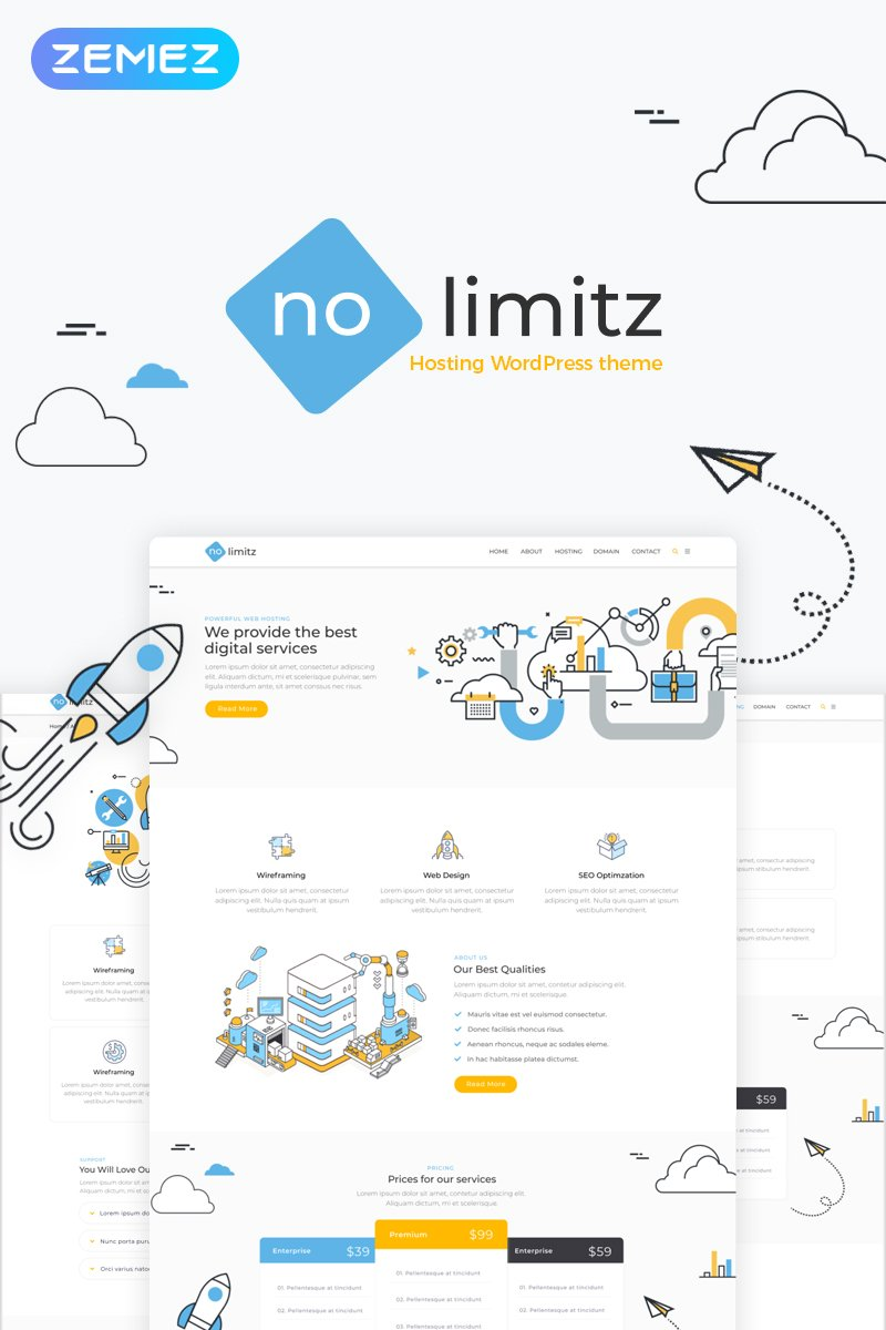 NoLimitz - Hosting Elementor WordPress Theme