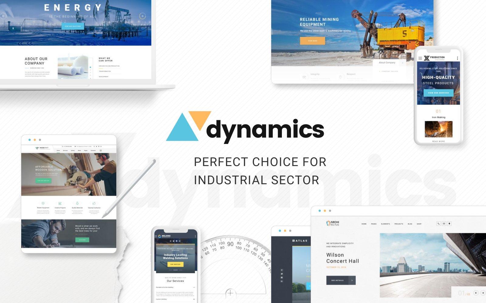 Responsivt Dynamics - Industrial Multipage HTML5 Website Template Hemsidemall #70384