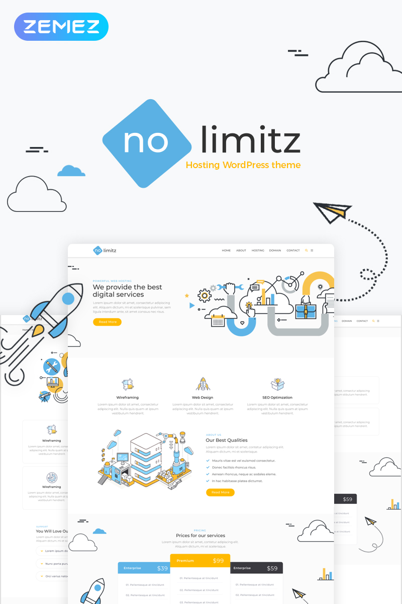 Responsivt NoLimitz - Hosting Elementor WordPress-tema #70375