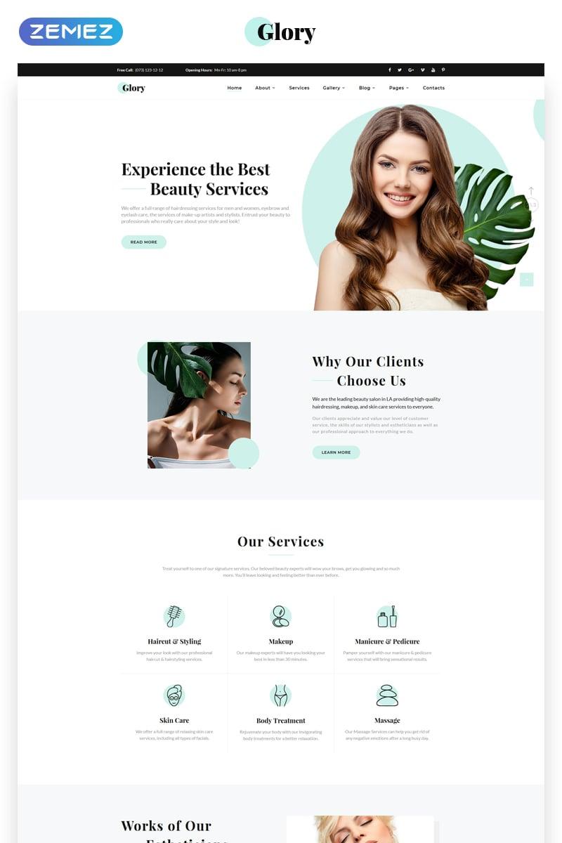 Reszponzív Glory - Divine Beauty Salon Multipage Weboldal sablon 70383