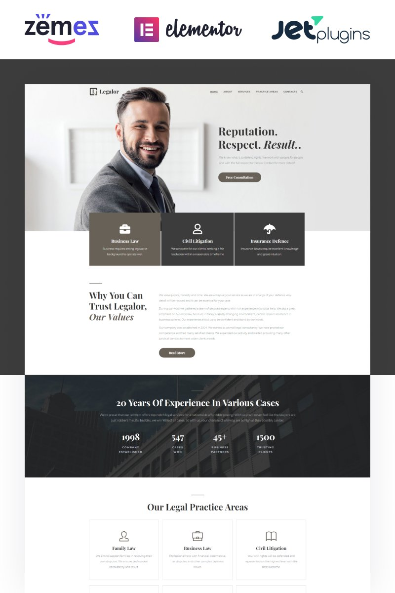 "Tema WordPress Responsive #70389 ""Legalor - Lawyer Elementor"""