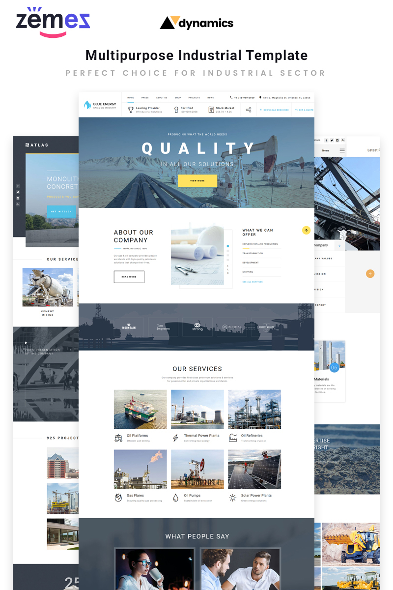 "Template Siti Web Responsive #70384 ""Dynamics - Industrial Multipage HTML5"""