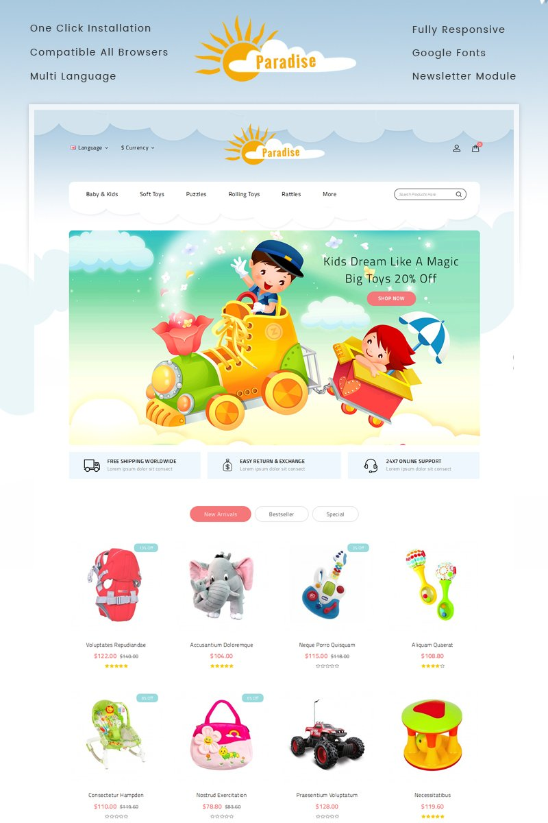 Website Design Template 70419 - toys flowers fashion gift stationary accessories minimal opencart responsive bootstrap template modern unique education cake parallax testimonial