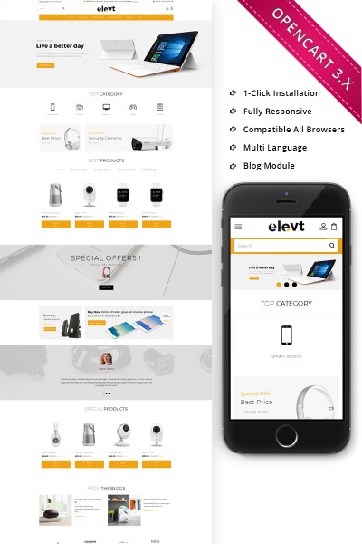 Адаптивный OpenCart шаблон №70405 на тему магазин электроники #70405