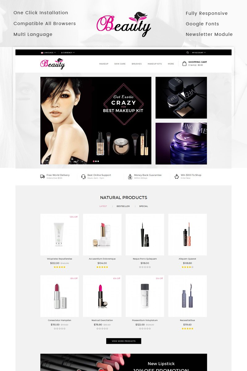 Beauty Store Template OpenCart №70420