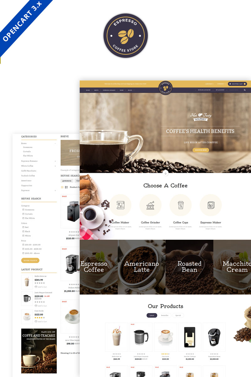 """""""Expresso Coffee Responsive"""" Responsive OpenCart Template №70479"""