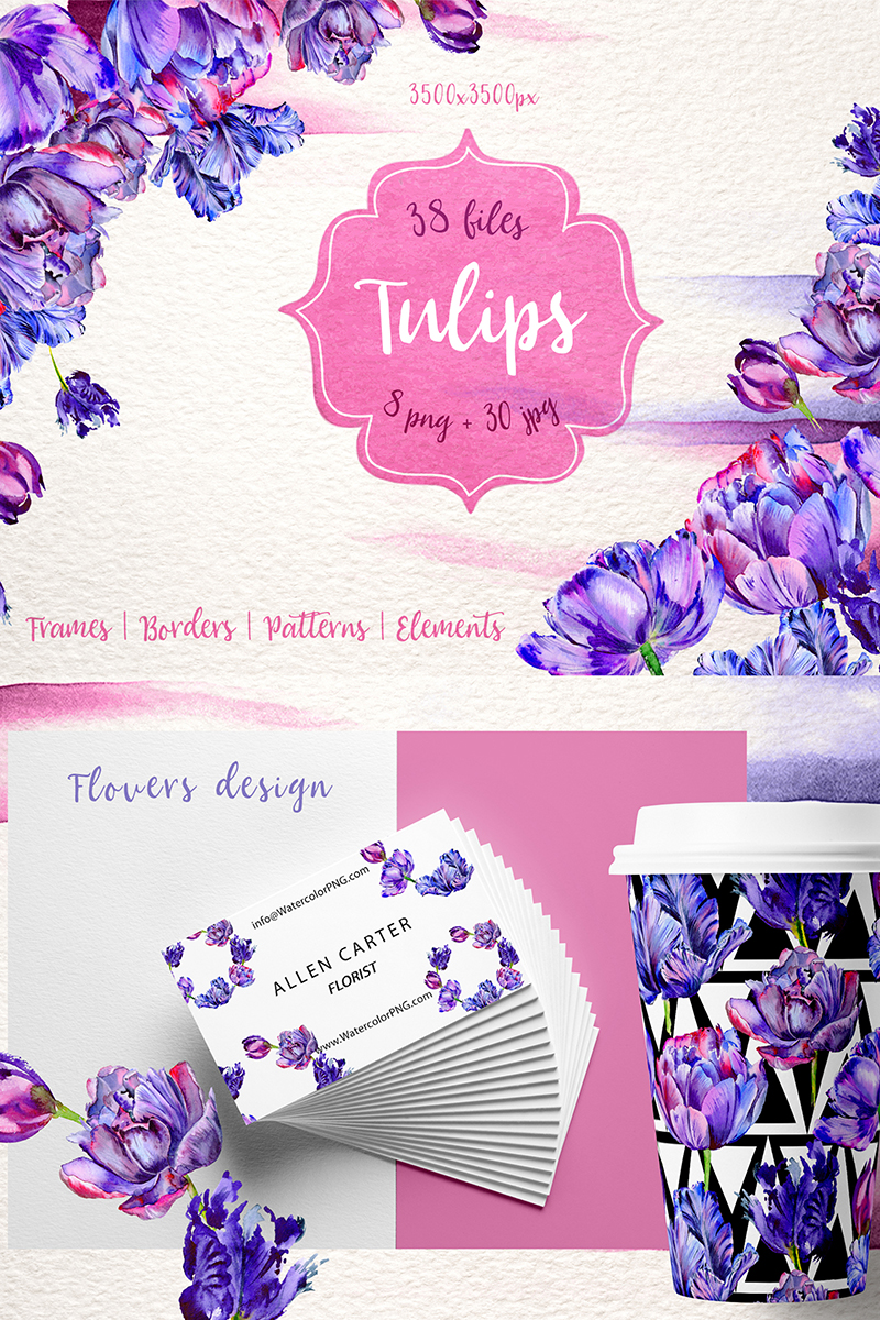 """Lovely Purple Tulip PNG Watercolor Set"" 插图 #70476 - 截图"