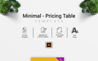Minimal – Pricing Table Infographic Elements