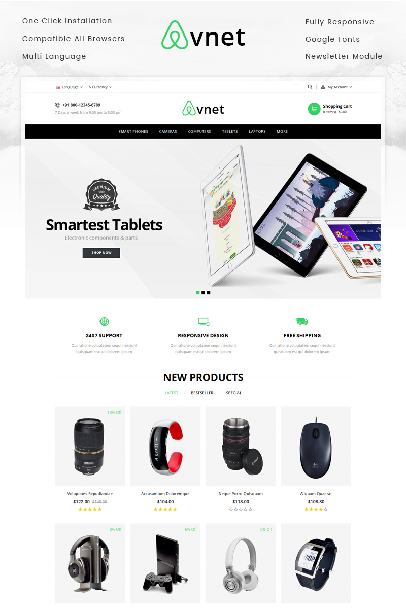 Responsywny szablon OpenCart Avnet Electronics Store #70408