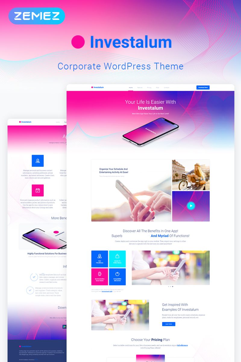 Website Design Template 70519 - app software web development internet it project business startup developer design creative seo html professional responsive retina crossbrowser
