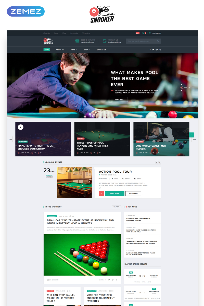 Website Design Template 70528 - entertainment joy events school teaching training instructors trainers tournaments schedule player coach ball field billiard style news