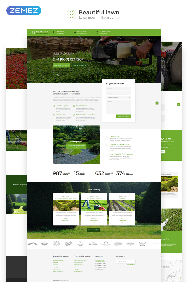 Website Design Template 70530 - business portfolio agency corporate services company web technology website exterior decoration gardens plant landscape gardening plants lawn landscaping