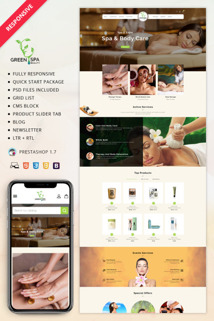 Website Design Template 70538 - greenspa salon beauty cosmetic fashion mutipurpose singleproduct responsive tools mackup services testimonial socialmediashare html5 css3 ajax