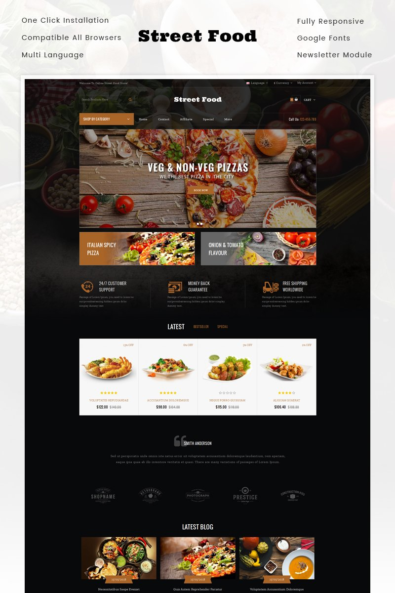 Website Design Template 70578 - food coffee bakery wine organic minimal opencart responsive bootstrap template theme modern quickstart quickview grocery