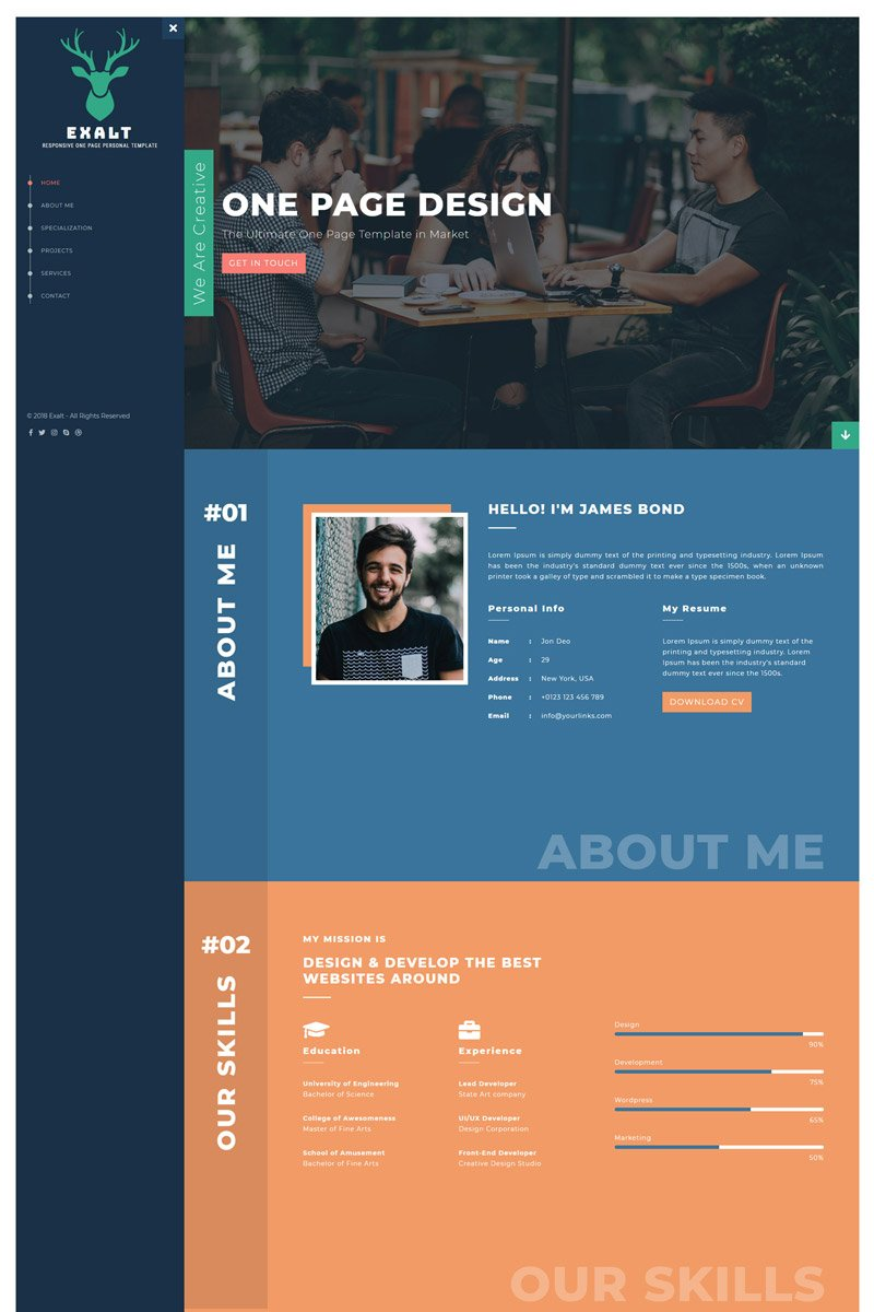 Website Design Template 70580 - personal template onepage bootstrap html portfolio design creative modern