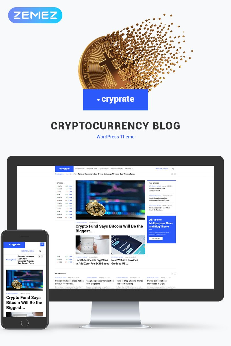 """Cryprate - Cryptocurrency Blog Elementor"" 响应式WordPress模板 #70558"