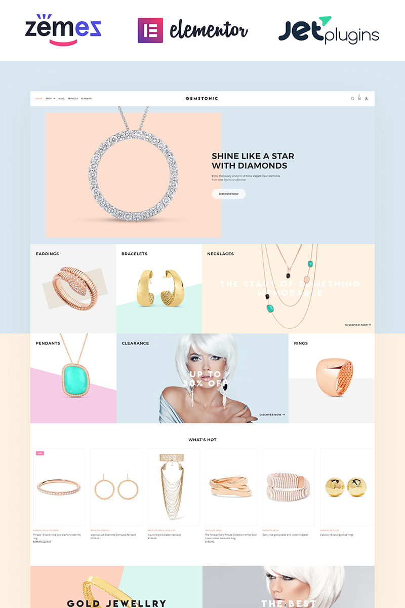 """Gemstonic - Jewelry Elementor"" Responsive WooCommerce Thema №70584"