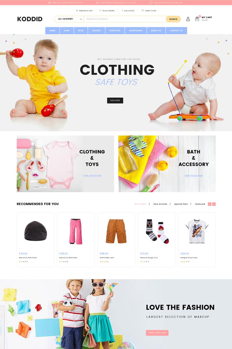 """""""Koddid Kids"""" - адаптивний WooCommerce шаблон №70531"""