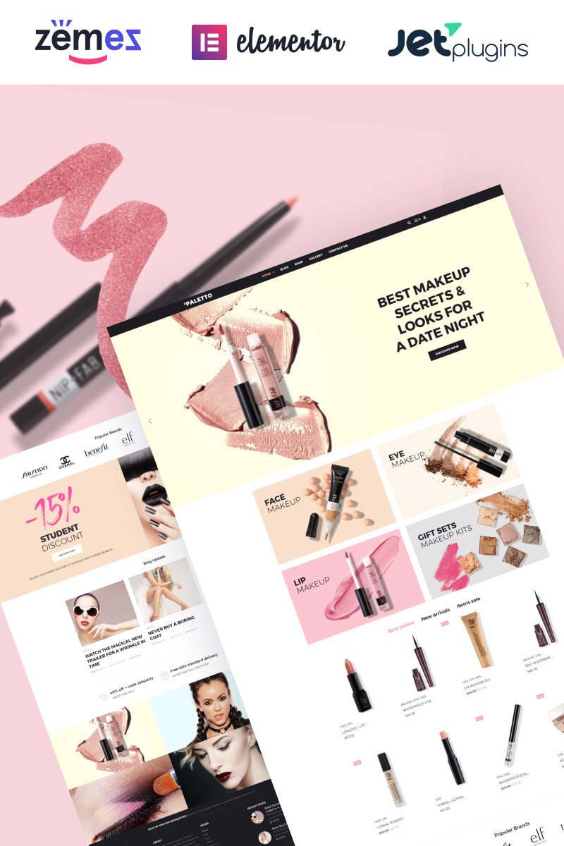 """Modello WooCommerce Responsive #70583 """"Paletto - Cosmetic Store Elementor"""""""