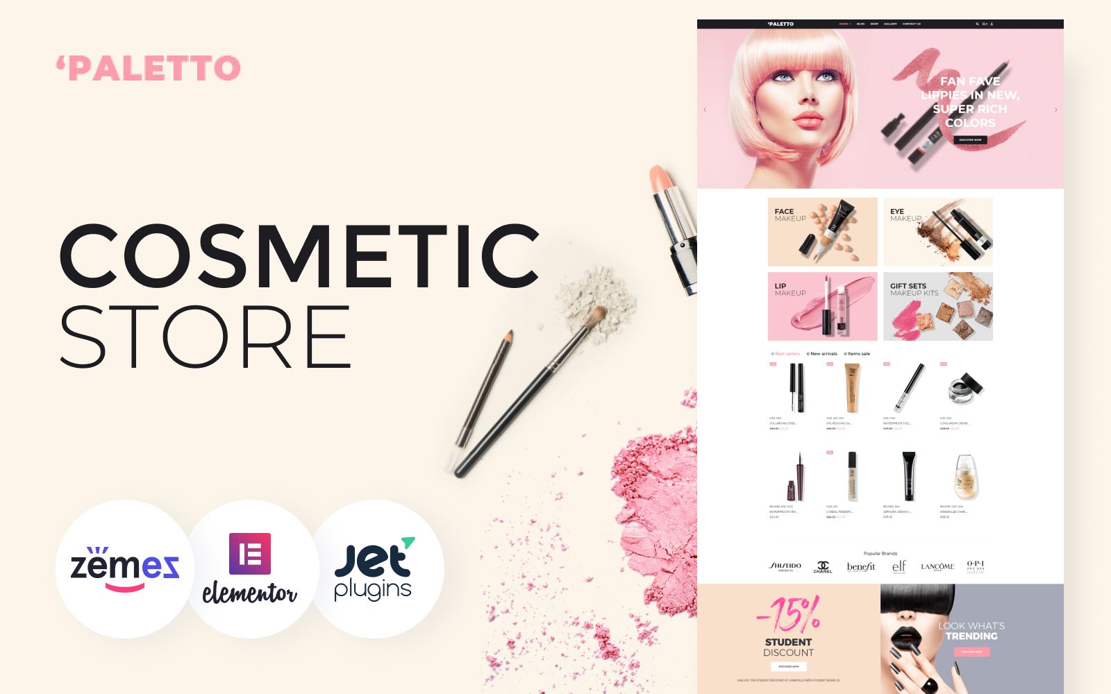 """""""Paletto - Cosmetic Store Elementor"""" 响应式WooCommerce模板 #70583"""