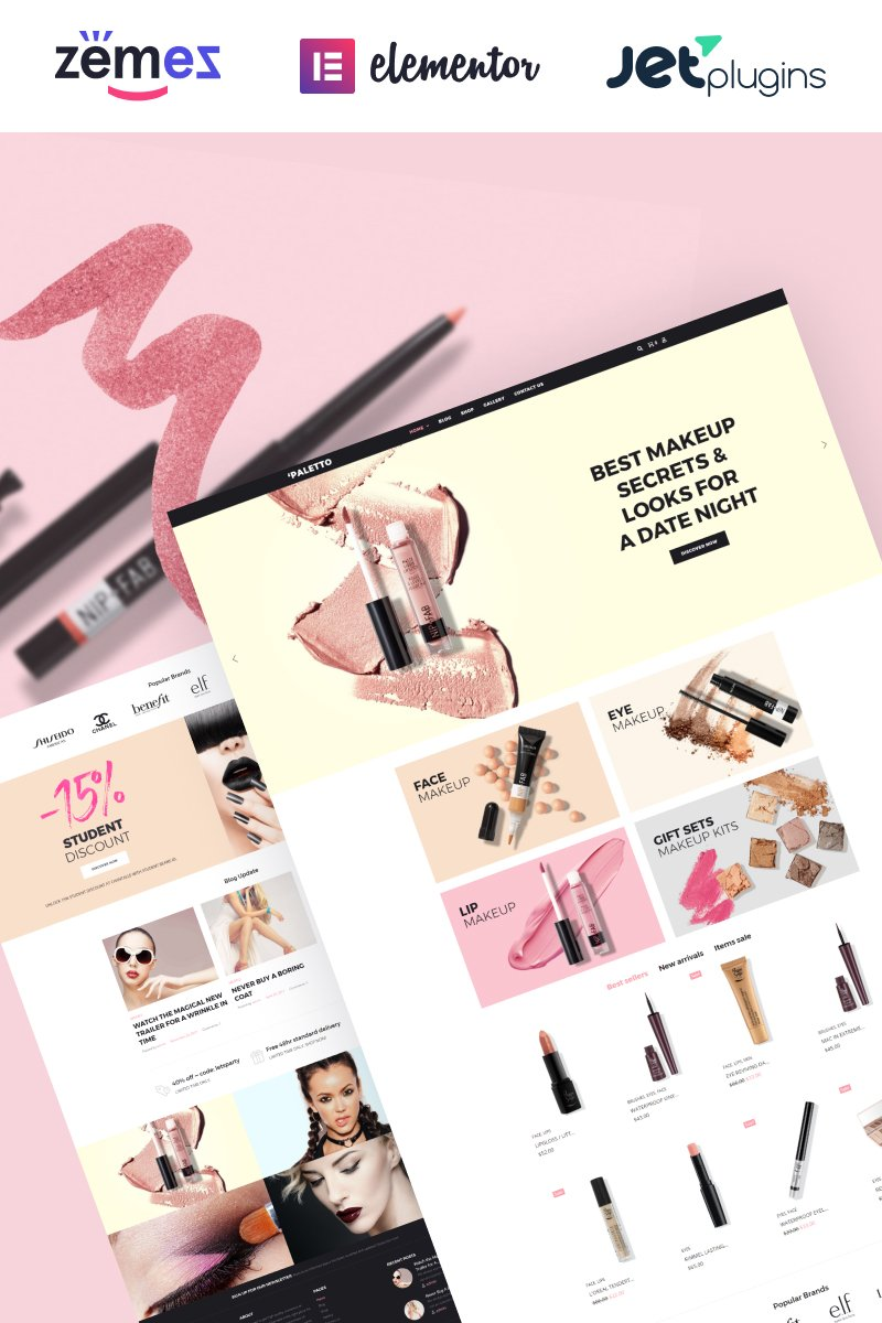 Responsivt Paletto - Cosmetic Store Elementor WooCommerce-tema #70583 - skärmbild