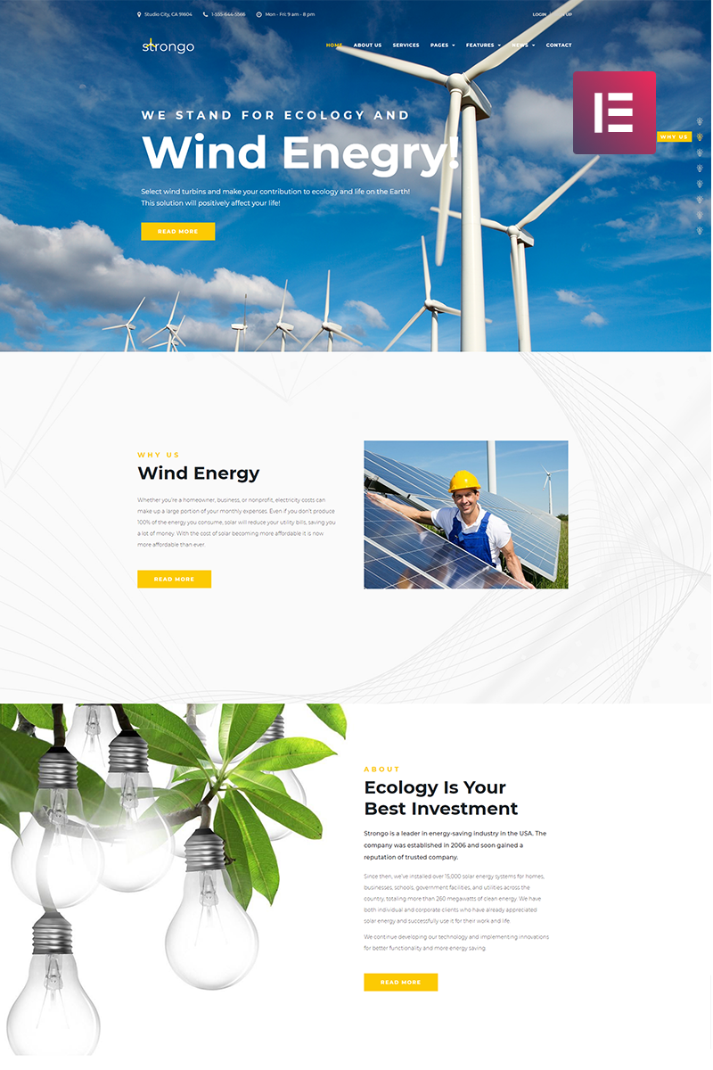 Responsivt Strongo - Wind Energy Company WordPress-tema #70589